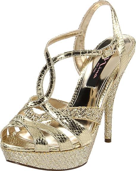 promo code 0b13b 290f0 Nina Sheen, Scarpe con cinturino alla caviglia donna, Oro ...