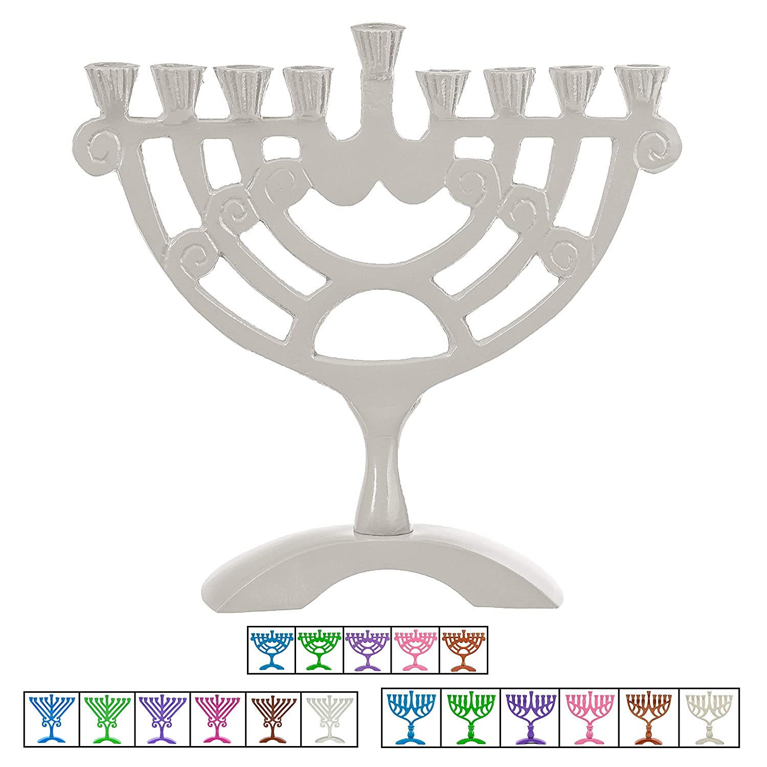 Ner mitzvah colored candle menorah fits all standard chanukah candles white swirl design 6 high