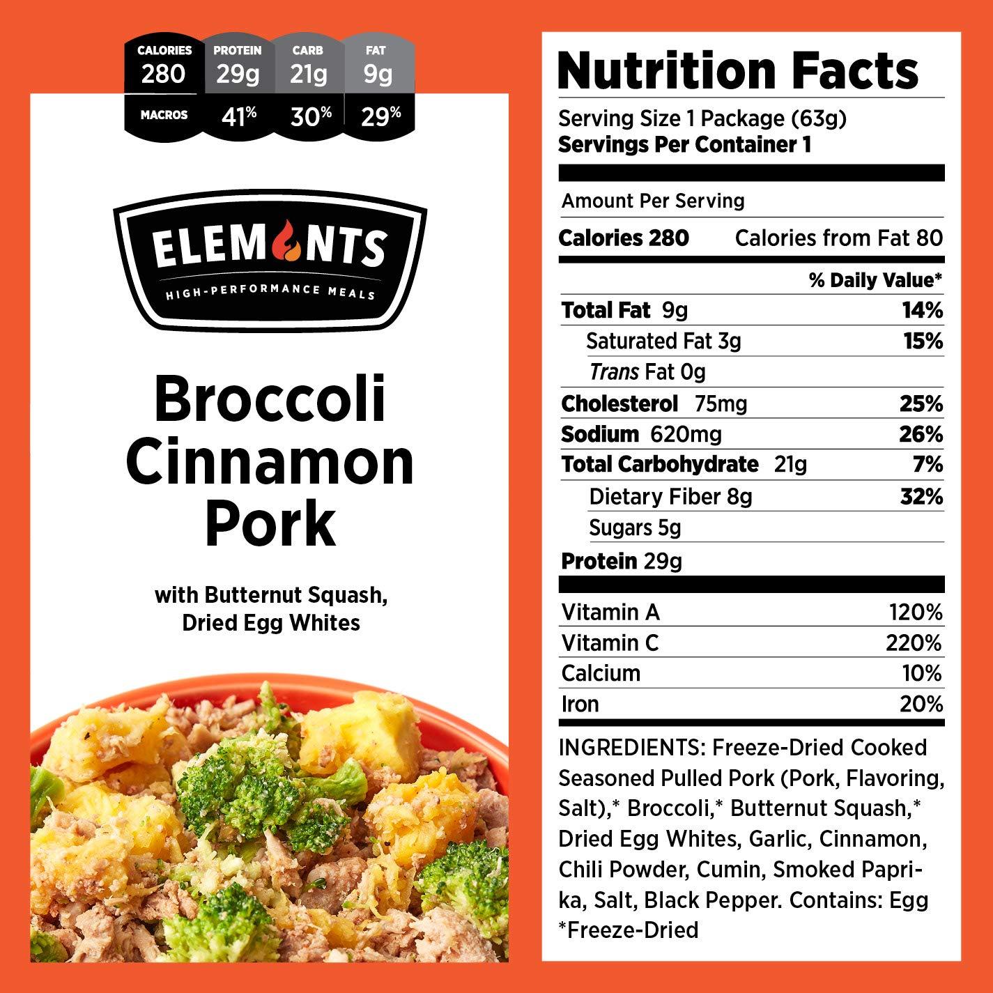 Elements Food, 10-Pack Variety Kit, Balsamic Chicken Pomodoro, Chipotle Turkey Scaramble, Maple Mustard Pork, Broccoli Cinnamon Pork, Sesame Garlic Chicken, Healthy Freeze Dried Food, Paleo Meals