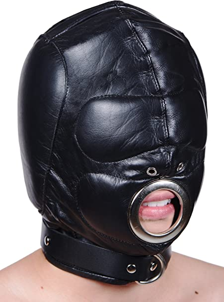 GENUINE LEATHER BONDAGE Isolation Hood with Padded Ears with zipper