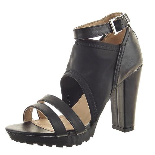 Sopily - Zapatillas de Moda Sandalias Botines Low boots Zapatillas de plataforma Caña baja mujer multi