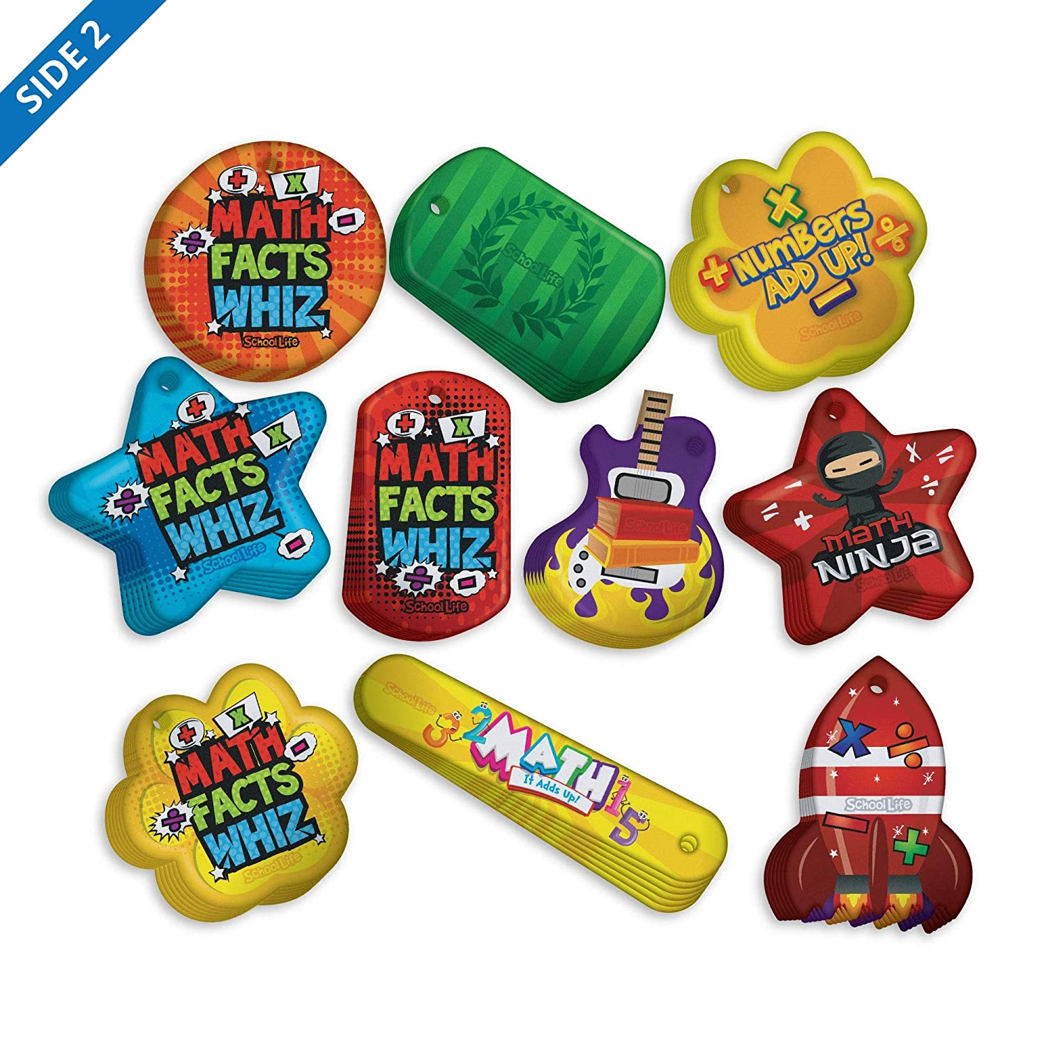 Build Basic Math Skills Brag Tag Value Pack: 100 Tags (10 Tags for Each Shape) + 25 Chains