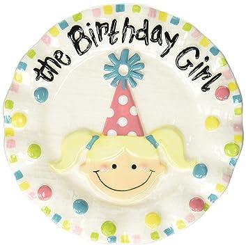 Mud Pie Colorful Ceramic Birthday Dessert Candle Plate Girl  sc 1 st  Amazon.com & Amazon.com : Mud Pie Colorful Ceramic Birthday Dessert Candle Plate ...