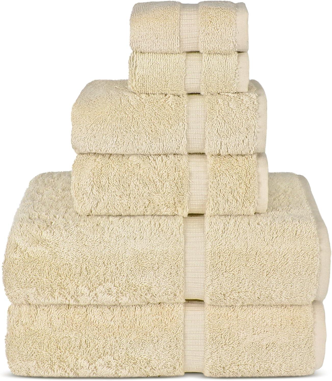 6 Piece Turkish Luxury Turkish Cotton Towel Set - Eco Friendly, 2 Bath Towels, 2 Hand Towels, 2 Wash Clothes by Turkish Towel (Cream, Set)