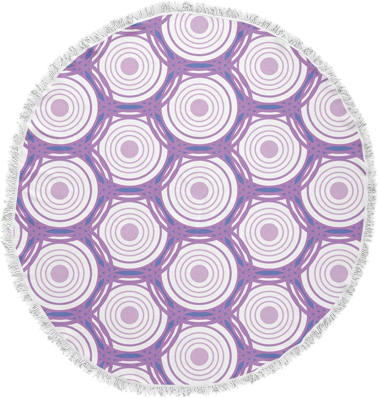 KESS InHouse Louise Labyrinth Purple Round Beach Towel Blanket