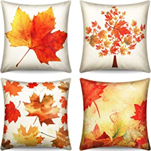 Boao 4 Pieces Thanksgiving Throw Pillow Covers Fall Maple Leaves Pillow Cases Cotton Linen Square Decorative Cushion Cover for Thanksgiving Autumn Home Decor, 18 x 18 Inches