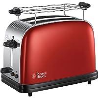 Russell Hobbs Grille Pain Extra Large, Toaster Colours Plus, Technologie Cuisson Rapide Uniforme, Contrôle Brunissage, Chauffe Vionnoiserie Inclus -Rouge 23330-56
