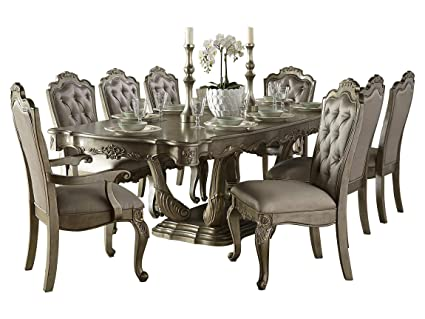 Fenti Old World European 10PC Dining Set Table, 2 Arm, 6 Side Chair In