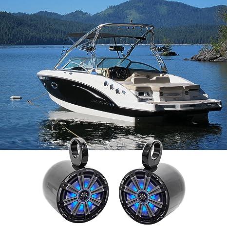 "Review Pair KICKER 45KM84L 8"" 600 Watt Marine Boat Wakeboard Tower Speakers w/LED's KM8"