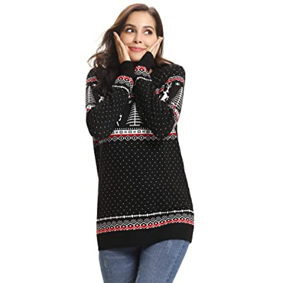 Abollria Family Matching Ugly Christmas Reindeer Snowflakes Sweater Pullover (Dad, Mom, Kids) at Amazon Women's Clothing store