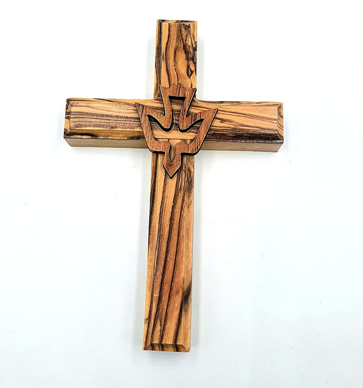 Zuluf Wall Hanging Wood Cross Olive Wood Dove Cross ReligiousHoly Spirit Gift 12cm - CRS021 & Holy Land Certificate