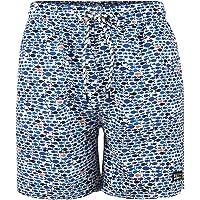 Maui And Sons Traje de Baño Corto para Hombre, Secádo Rápido con Estampado de Peces y Cordones Ajustables, Color Azul.
