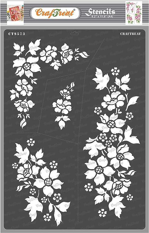 Floral Stencils,4 Stencil Set,Leaves Stencils,Stencils,Art Supplies,Mixed Media Supplies,Craft Supplies,Cardmaking Supplies,Journal Supplies