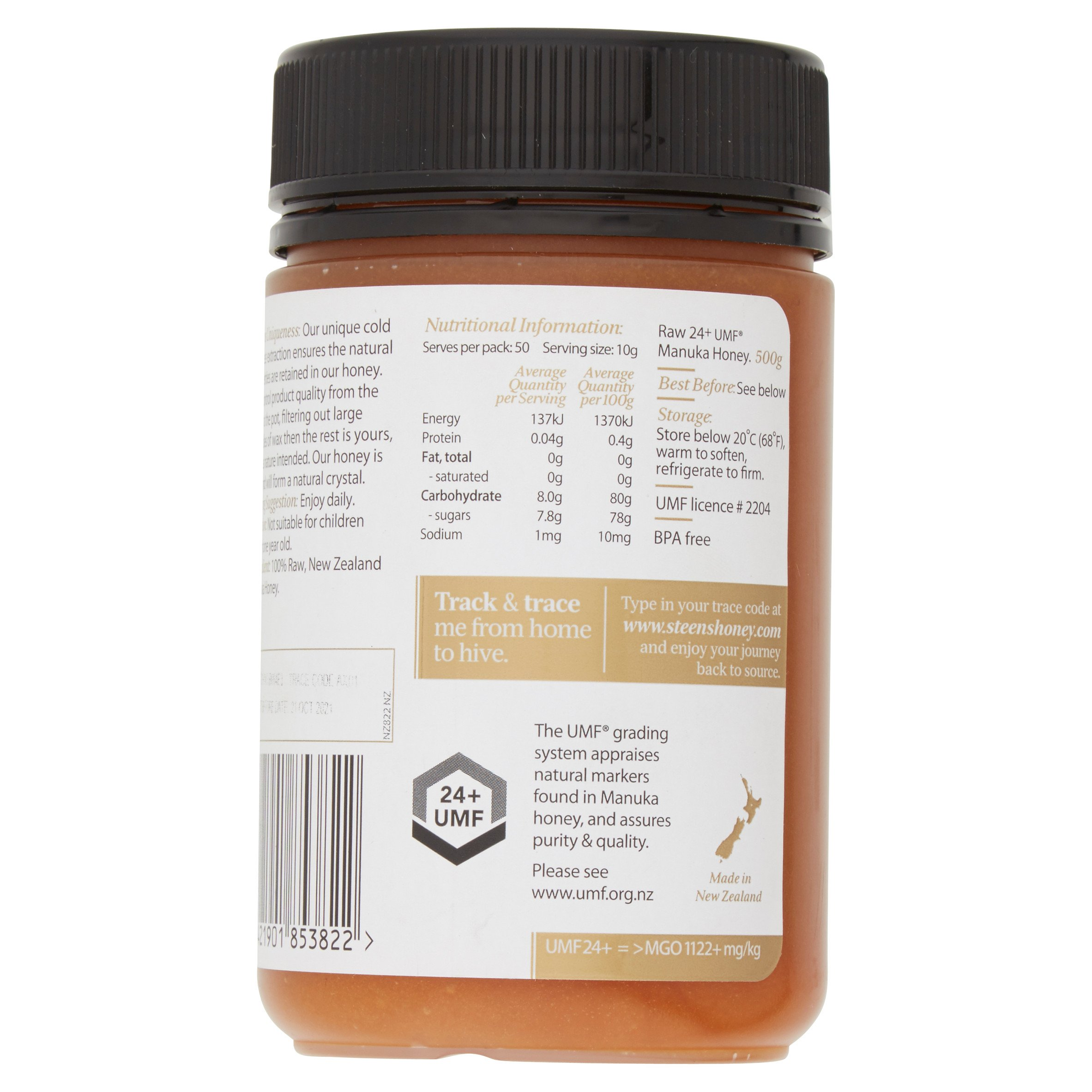 Steens Manuka Honey UMF 24 (MGO 1122) 17.6 Ounce jar | Pure Raw Unpasteurized Honey From New Zealand NZ | Traceability Code on Each Label by Steens (Image #8)