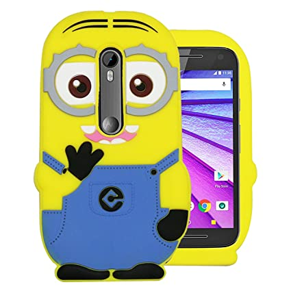 check out 8e409 e50f9 Heartly Cute Cartoon Soft Rubber Silicone Flip Bumper Best Back Case Cover  for Motorola Moto G3 / Moto G 3rd Generation/Moto G Turbo Double Eye