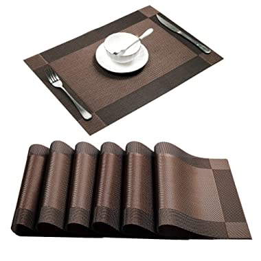 U'Artlines Placemat, Crossweave Woven Vinyl Non-Slip Insulation Placemat Washable Table Mats (Brown, 6pcs placemats)