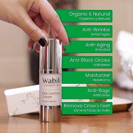 Wabili Cosmetics Contorno de Ojos Antiarrugas Mujer con Aguacate y Ácido Hialurónico 30ml | Antiojeras, Hidratante, Antiedad y Antibolsas | Drenante