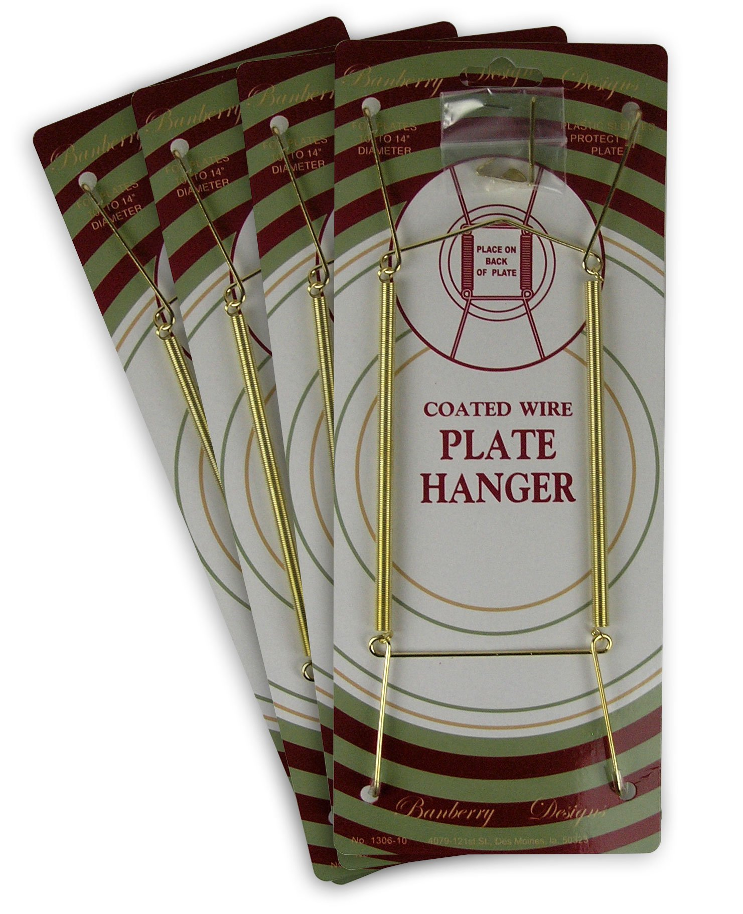 BANBERRY DESIGNS Brass Vinyl Coated Plate Hanger 10 to 14 Inch Pack of 4 Hangers - Plate Hangers for the Wall
