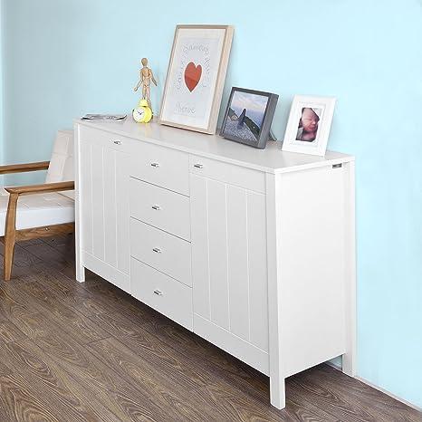 SoBuy® Base Credenza,Mobile ingresso,Armadietto da soggiorno,bianco ...