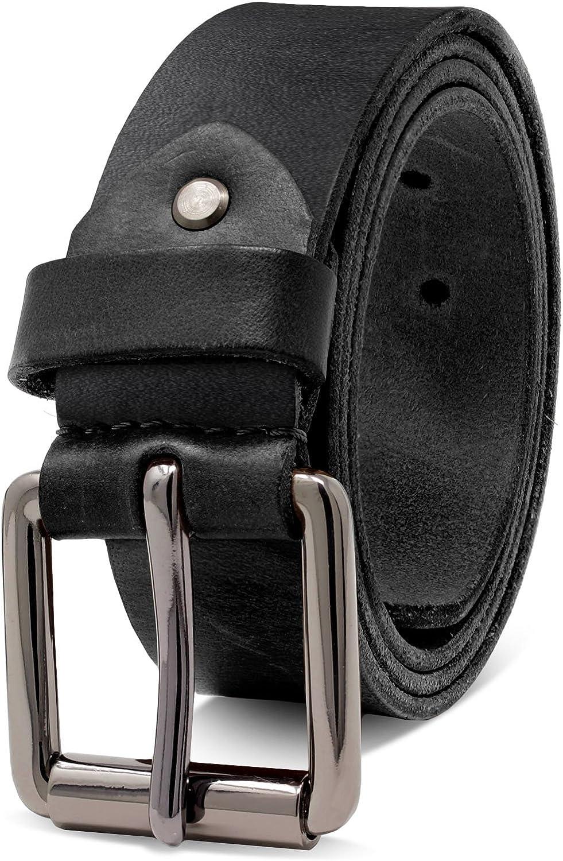ROYALZ Vintage 4mm Cinturón de cuero de búfalo robusto 4mm de cuero para hombre, correa para vaqueros con hebilla de espina - cuero completo antiguo 38mm