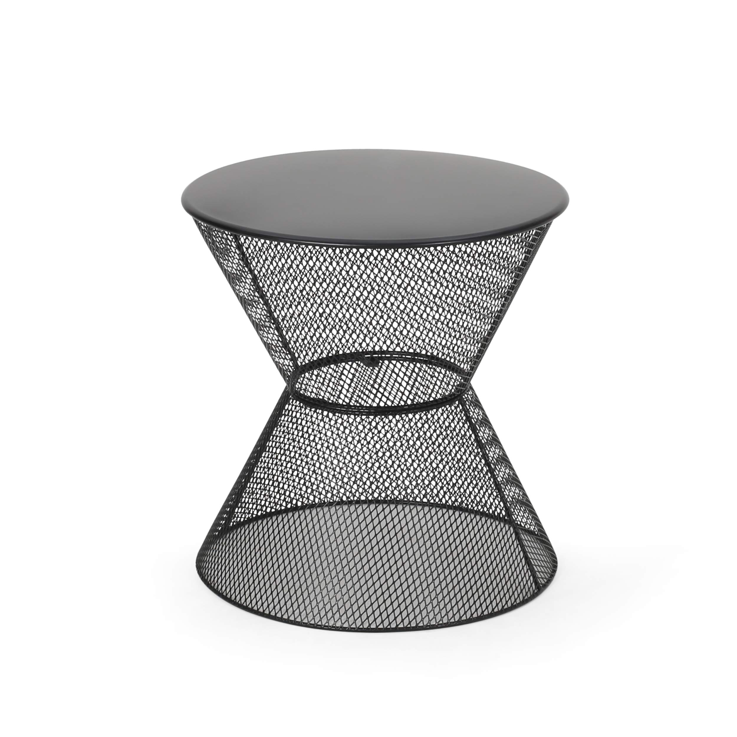 Doreen Modern Outdoor Iron Side Table, Matte Black by Great Deal Furniture