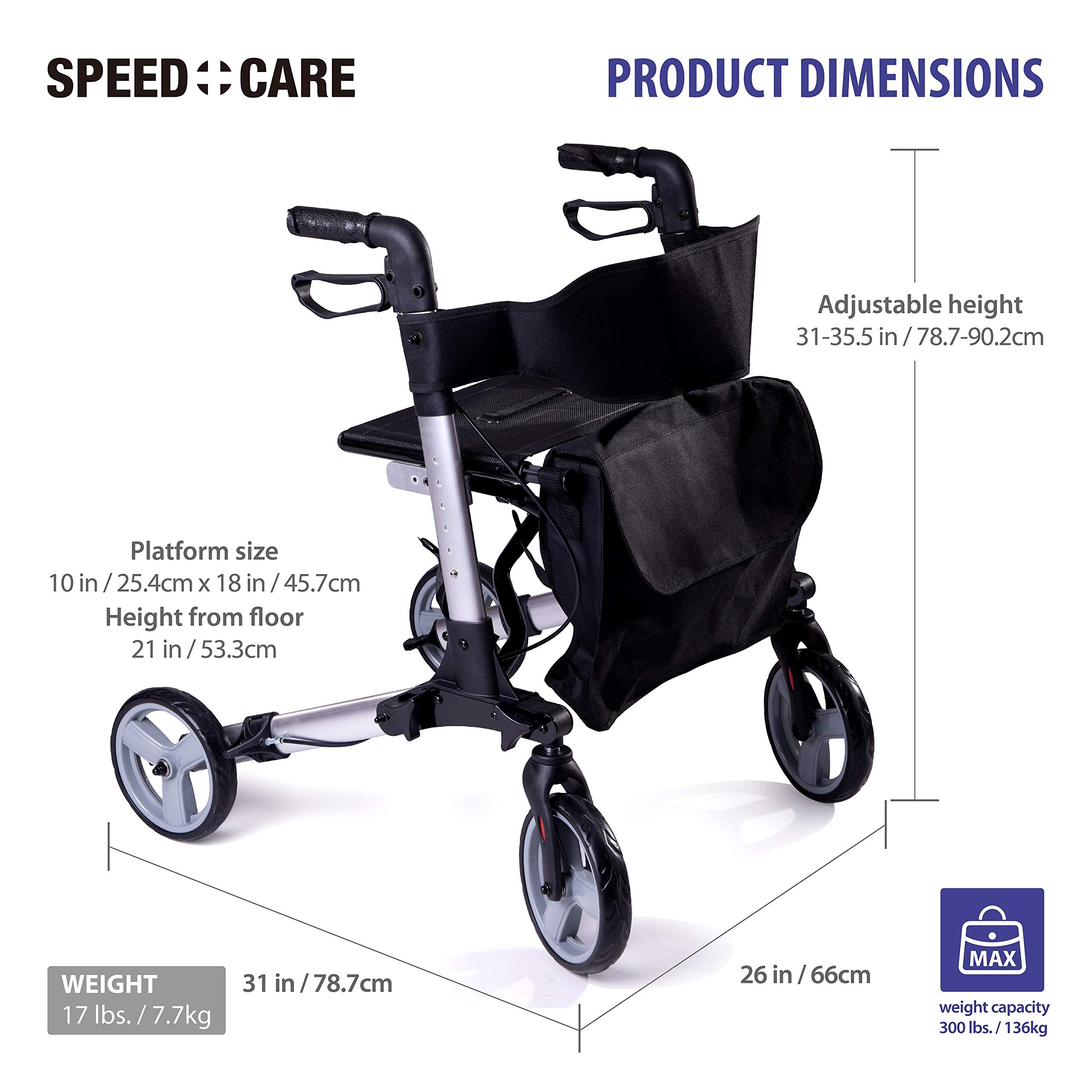 Speedcare FDA Approved Euro Style Deluxe Dual Brake Rollator Walker with Seat, Bonus Saddle Bag Included