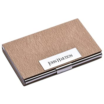 personalize free custom engraving credit card business card holder card case beige - Personalized Business Card Case