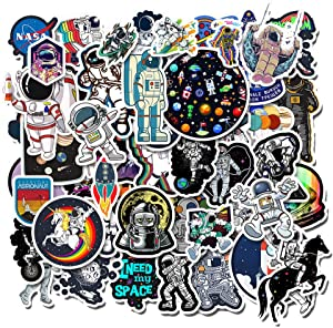 50 Pack NASA Space Explorer Stickers for Laptop - Space Explorer Galaxy Vinyl Sticker Spaceman Spacecraft Universe Planet Graffiti Decals Boy