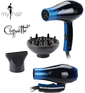 Secador de Pelo Profesional de Viaje Plegable Ligero con Difusor Coquette Blue (Azul) 1000W
