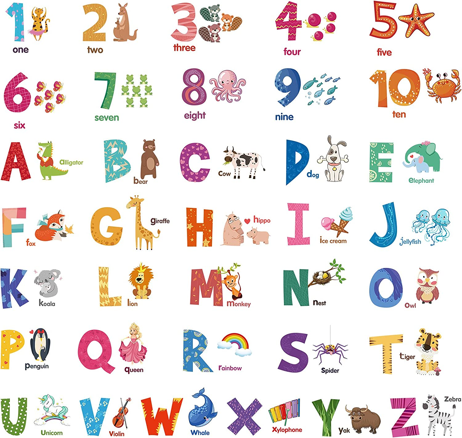 10 Sheets Number Animal Alphabet Wall Stickers Peel and Stick Cartoon Alphabet Stickers Learning Educational Wall Decals Educational Classroom Stickers for Kids Playroom Bedroom Decorations