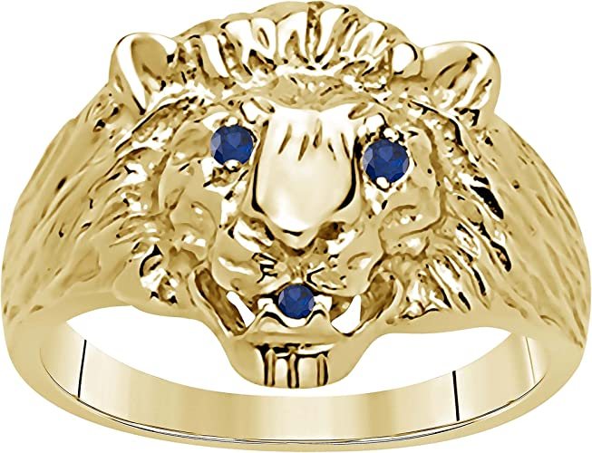 Affordable For Mens CZ Lab Created Black Sapphire Accent 14k Yellow Gold Over Alloy Alloy Lions Head Ring