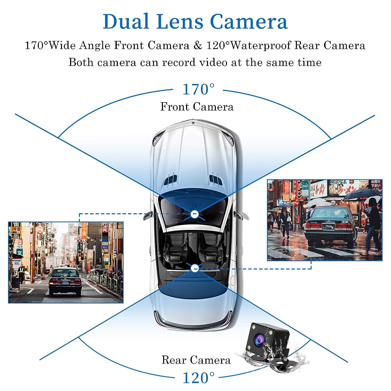 CHORTAU Dash Cam FHD 1080P 7,6 cm 170/° Weitwinkel mit wasserfester R/ückkamera Armaturenbrett Kamera mit R/ückfahrsystem Parkmonitor Super Night Version Bewegungserkennung WDR