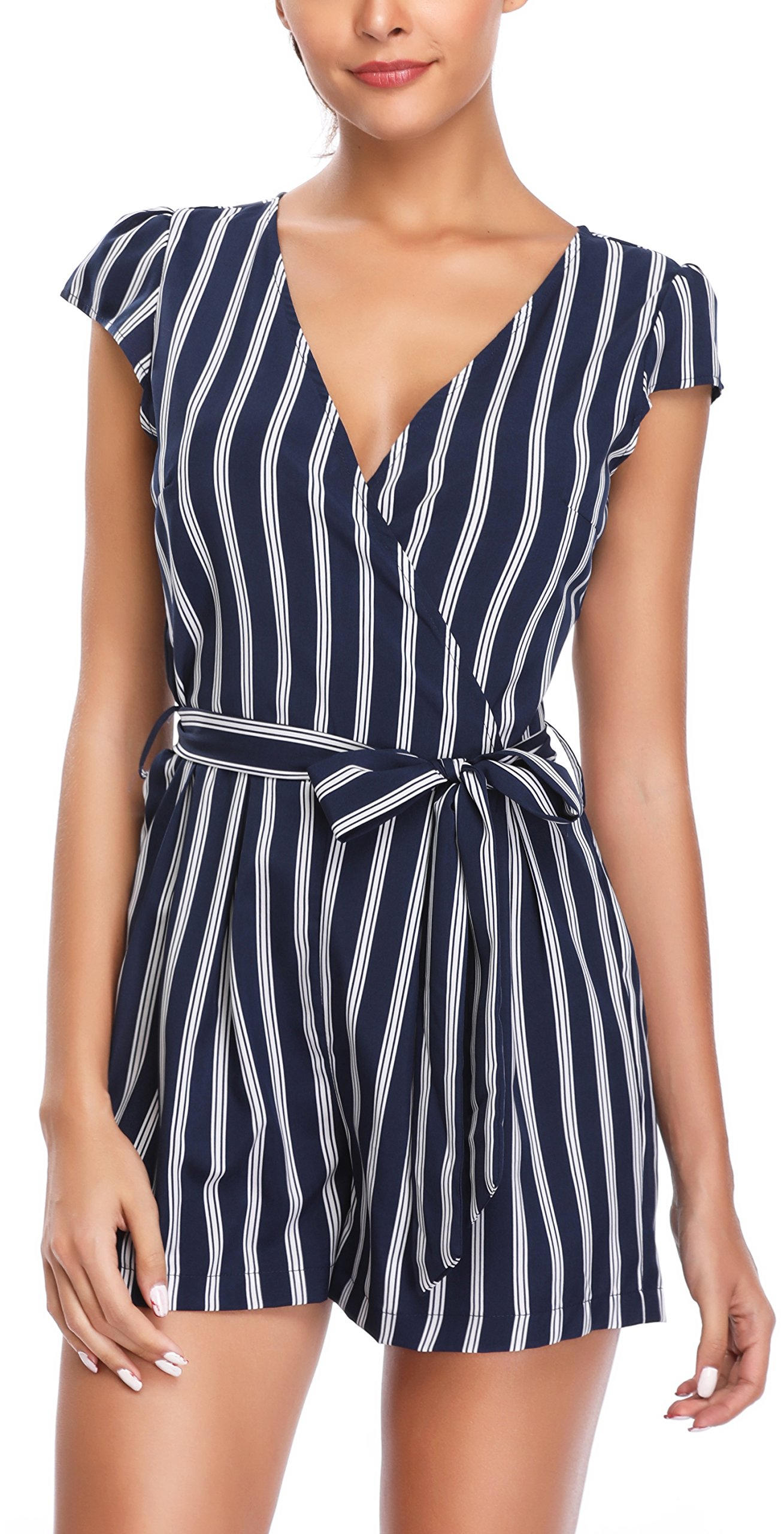 MISS MOLY Rompers and Jumpsuits for Women Vertical Deep V Neck Striped Cap Sleeve Cute Summer Playsuits with Belt Blue S