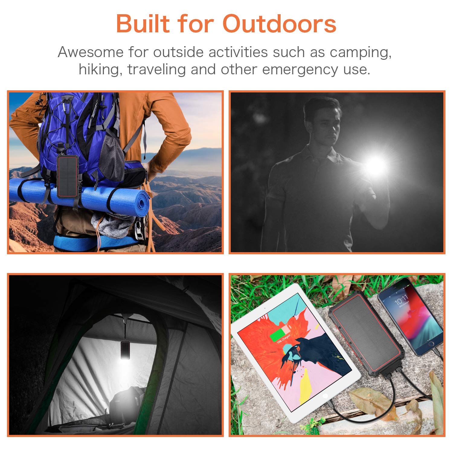 Solar Panel Charging for Travel Emergency Solar Charger Red 3 Output Ports 4 LED Flashlight Camping 12000mAh QI Wireless Solar Power Bank Portable Chargers External Battery Pack Charger