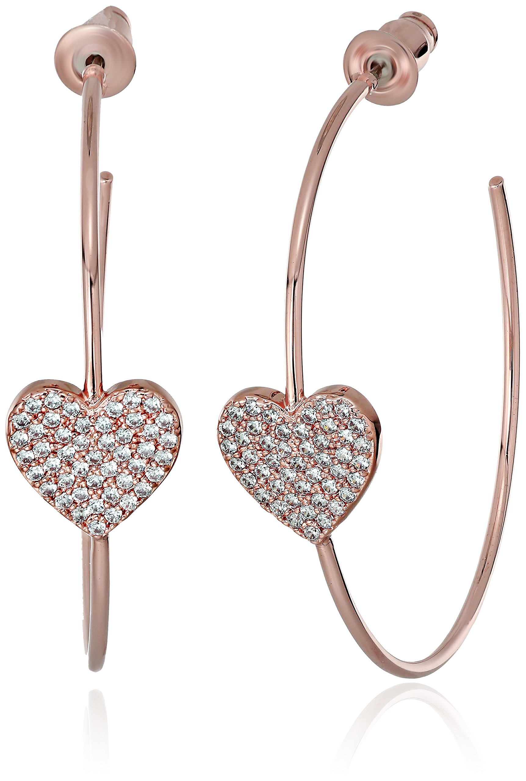 kate spade new york Womens Pave Heart Hoop Earrings, Clear/Rose Gold