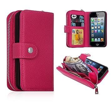 3bfd24e981 Amazon | iPhone SEケース財布とスマホが一体化 アイフォン5/5s/se ...