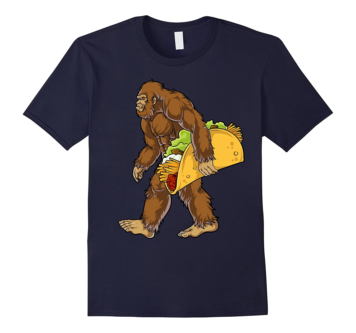 Bigfoot Sasquatch Carrying Taco T shirt Funny Camping Gifts-T-Shirt