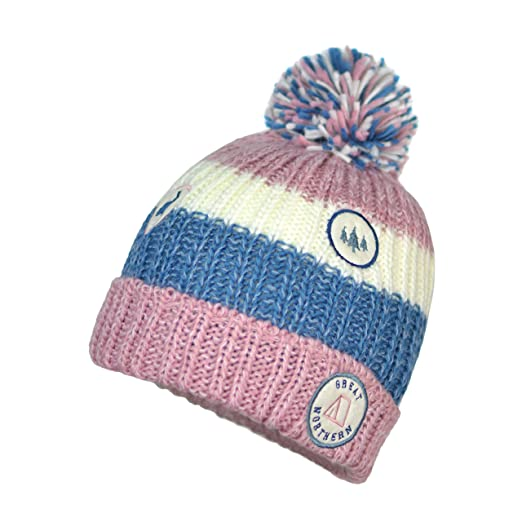 6f61d1a68d6 Amazon.com  Patch and Marled Stripes Stretch Winter Beanie- Fleece Lined  Knit Hat w Fluffy Pom (Dusty Pink