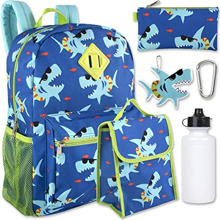 Boys 6 in 1 Backpack Set With Lunch Bag, Pencil Case, Bottle, Keychain, Clip (Sharks)