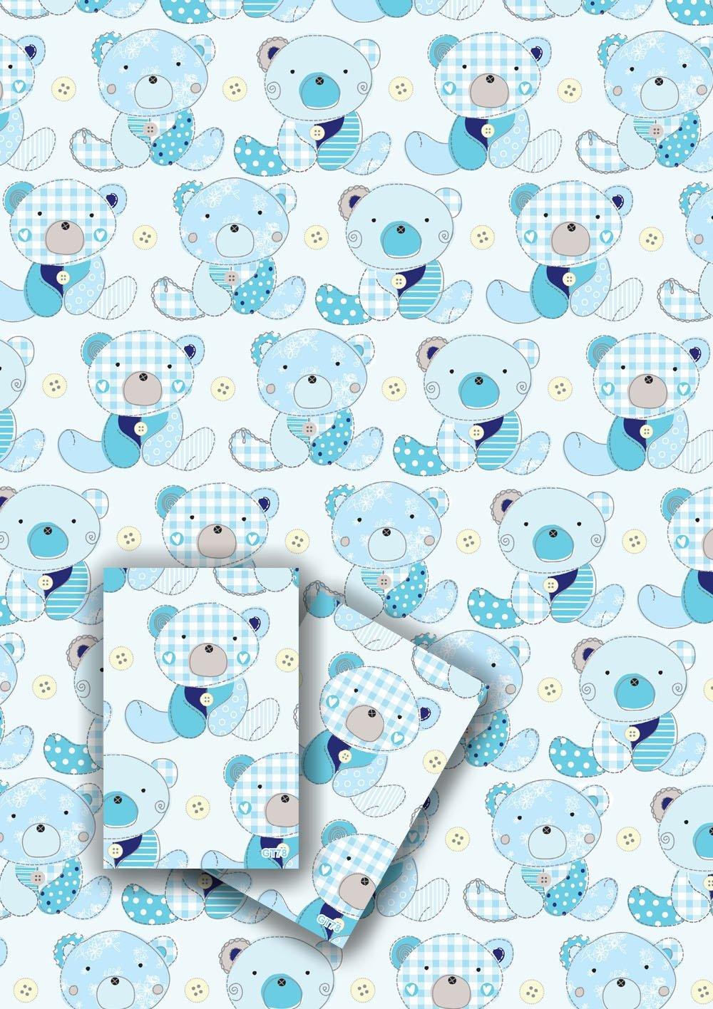 Jodds Luxus Baby Boy Geschenkpapier – 2 Blatt mit Passende Mini Card ...
