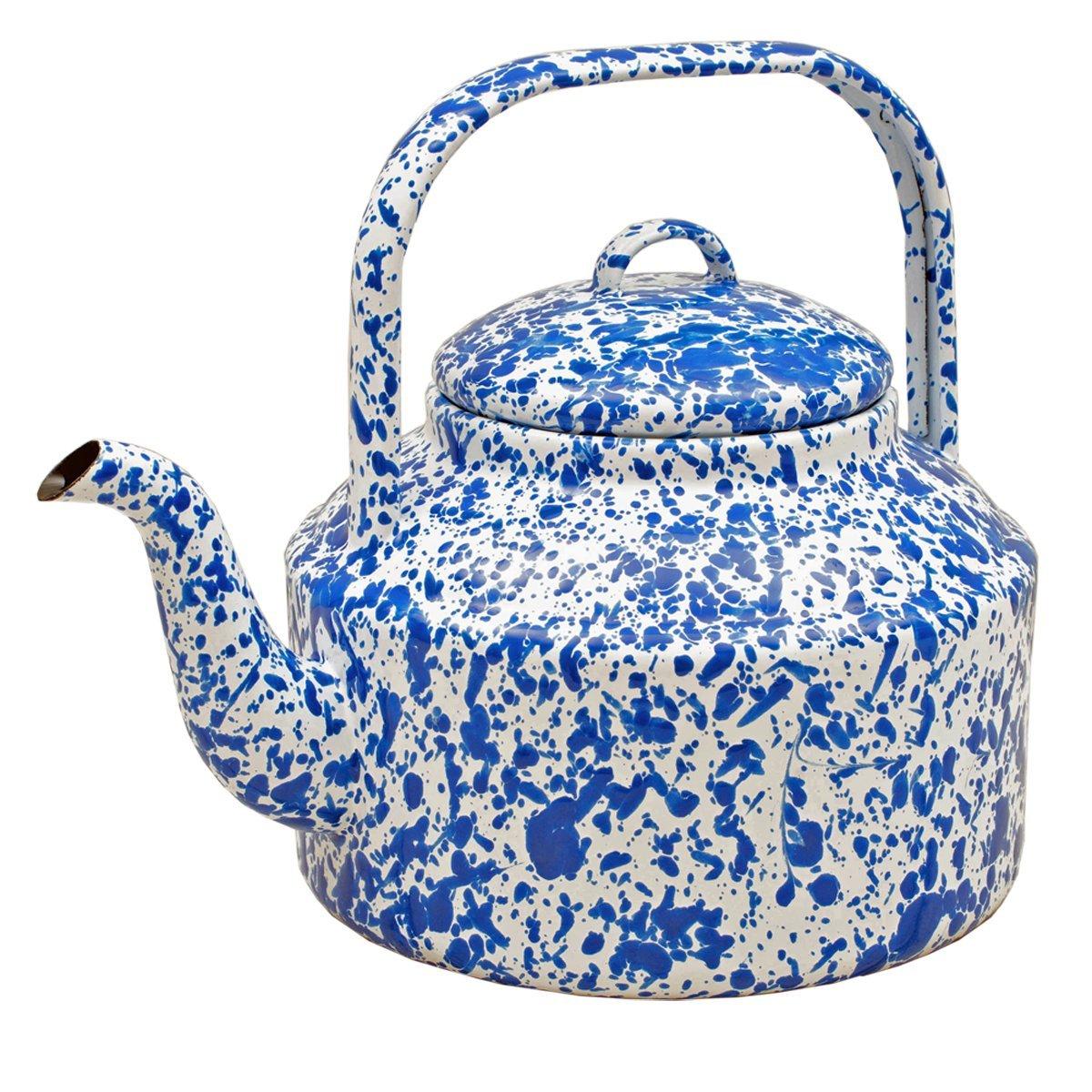Enamelware Tea Kettle, 2.75 quart, Blue/White Splatter