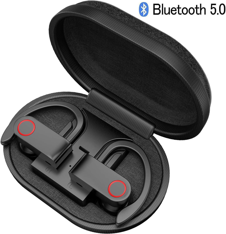 Auriculares Bluetooth Deportivos, iAmotus Auriculares Inalámbricos Bluetooth 5.0 Mini TWS Estéreo In-Ear Cascos Bluetooth Inalambricos con Caja de Carga Portátil para iPhone y Android Negro