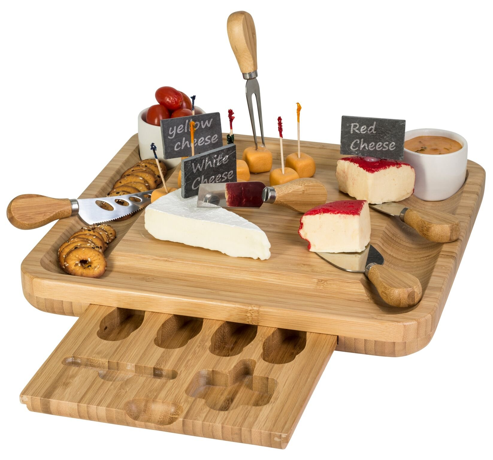 Cheese Knife And Marker Set, 5 Cutlery Knives Stainless Steel Bamboo Handles, 4 Cheese Board Labels Made Of Natural Black Slate Includes 2-Chalk Markers.Gift For All Occasions Upgrade By House Ur Home by House Ur Home (Image #5)