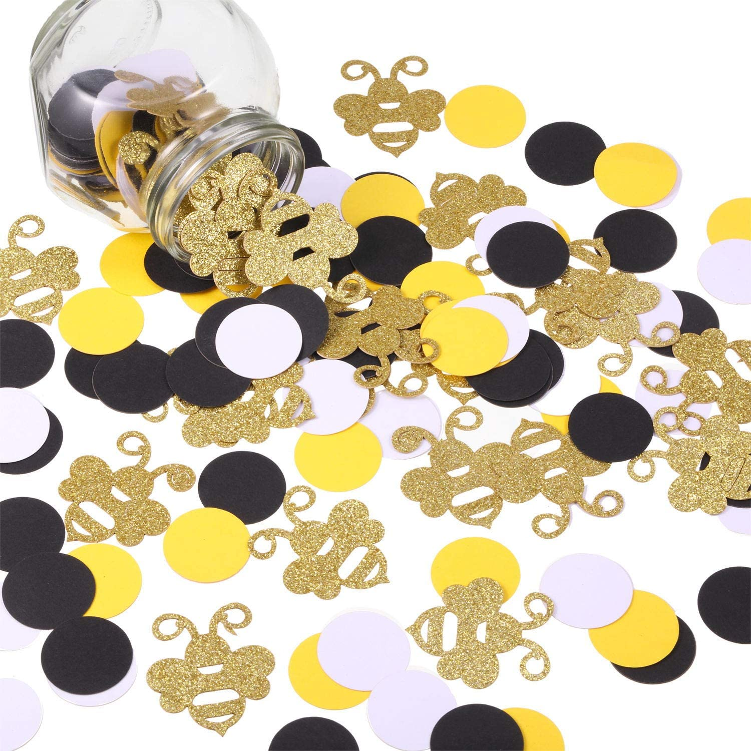 360 Pieces Bee Confetti Gold Glitter Bee Confetti Yellow Black Circle Confetti for Bee Themed Party Baby Shower Birthday Table Party Decoration