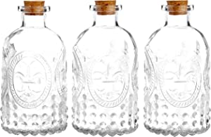 MyGift Set of 3 Antique-Style Clear Glass Embossed Apothecary Bottles with Cork Lids