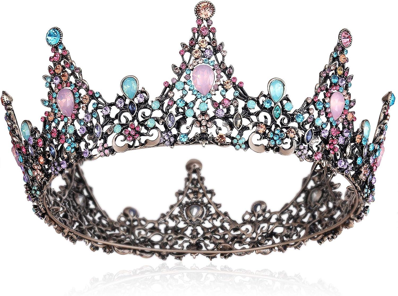 Coucoland - Corona de colores con piedras preciosas, estilo barroco, tiara, retro, boda, lujo, princesa, diadema, corona de cumpleaños, accesorio para disfraz de mujer
