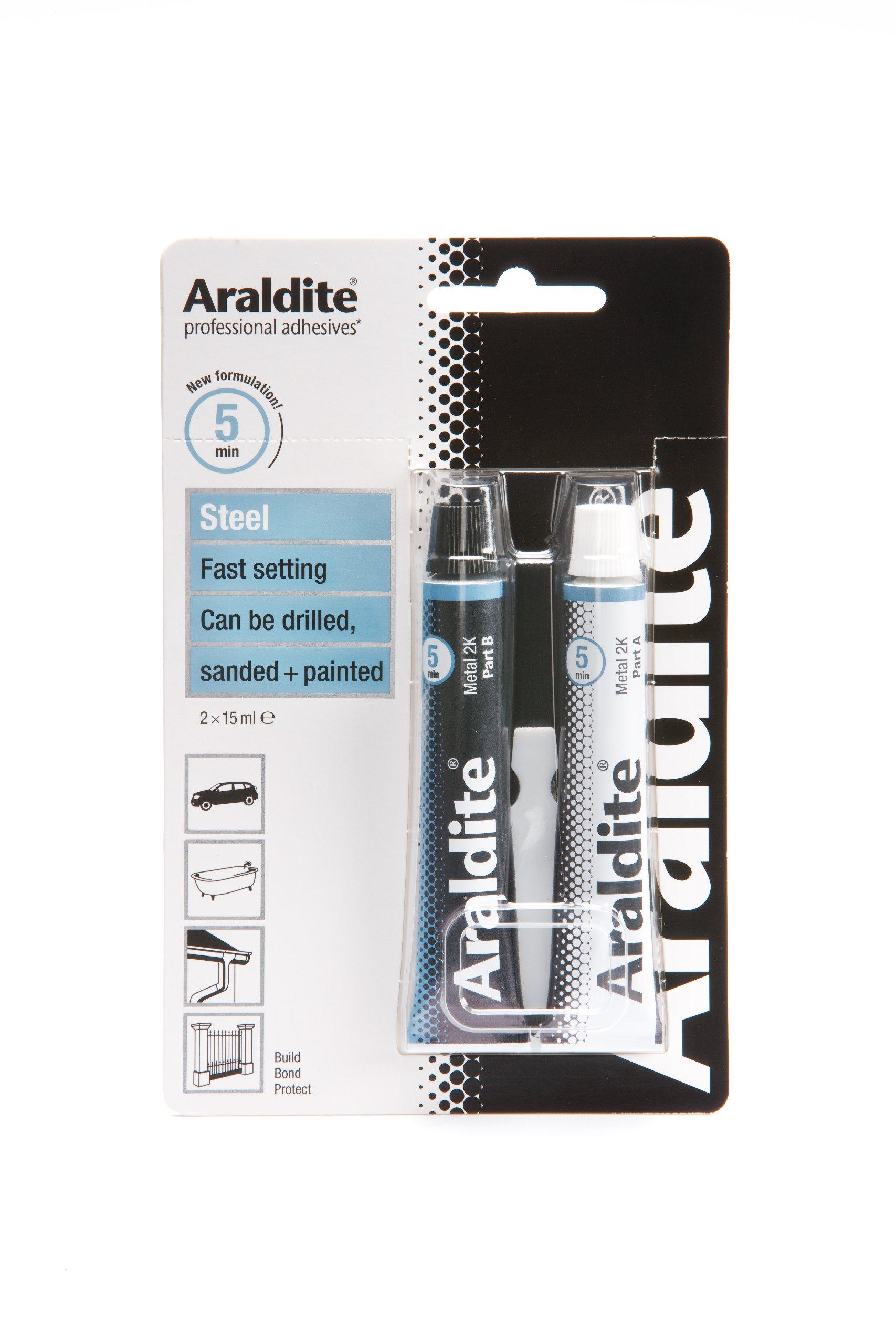 Araldite ARA-400010 Steel 15ml 2-Tubes Epoxy, Clear