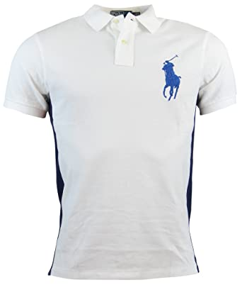 f089e2c5 Image Unavailable. Image not available for. Color: Polo Ralph Lauren Men's  Custom-Fit Color Blocked Big Pony Mesh Polo, White,