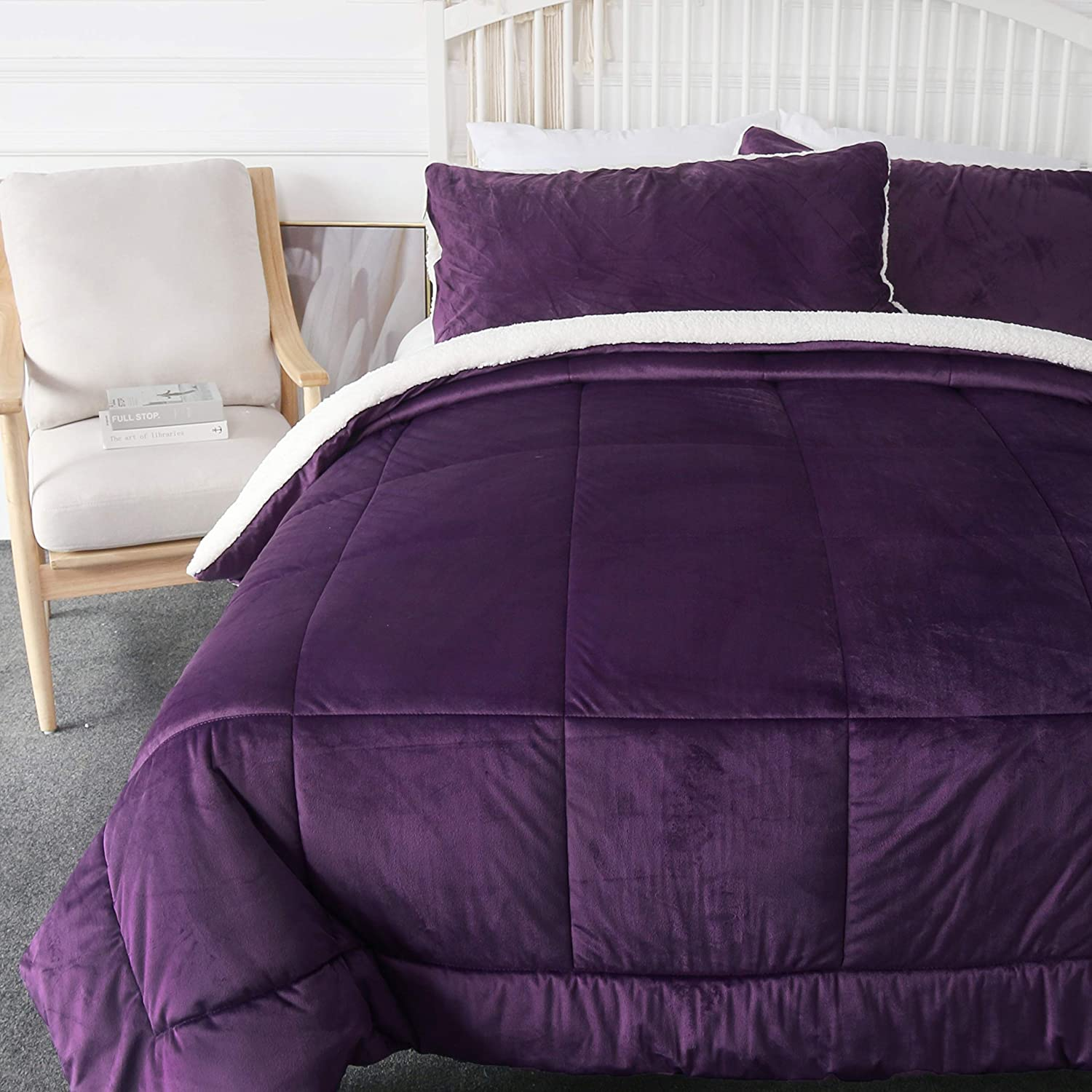 Micro Mink and Sherpa Comforter included 2 Pillowcase Reversible Comforter Set