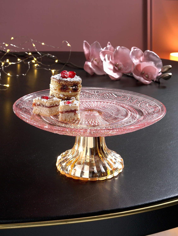 Boltze Tortenplatte auf Fu/ß ros/é//goldfarben